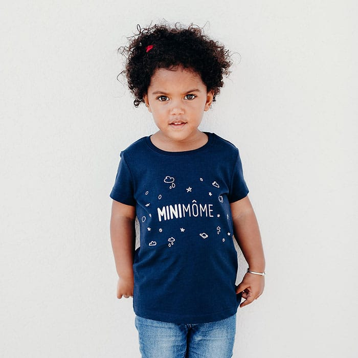 T Shirt Bleu MiniMÔME Beaming Lab
